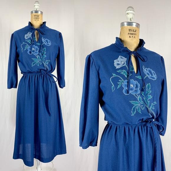 Vintage Dresses & Skirts - 70's Sheer Floral Polyester Mistress Disco Dress M